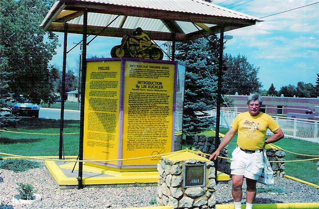 WPFTA member Bobby James standing near the WPFTA monument in Sturgis,SD